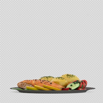 Food on plate 3d render