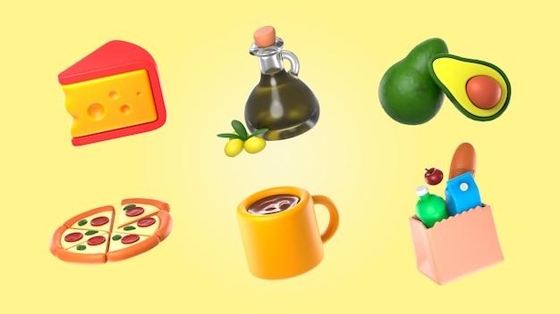 Mockup di raccolta di rendering di cibo
