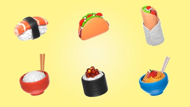 Mockup del pacchetto di rendering alimentare