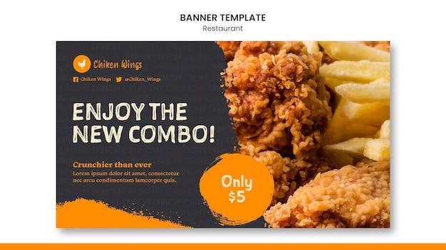 Modello di banner per ristorante di cibo