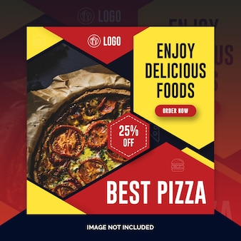 Food restaurant instagram post, square banner or flyer template