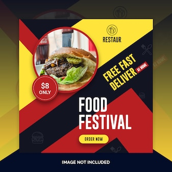 Food restaurant instagram post, square banner