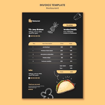 Food restaurant invoice template