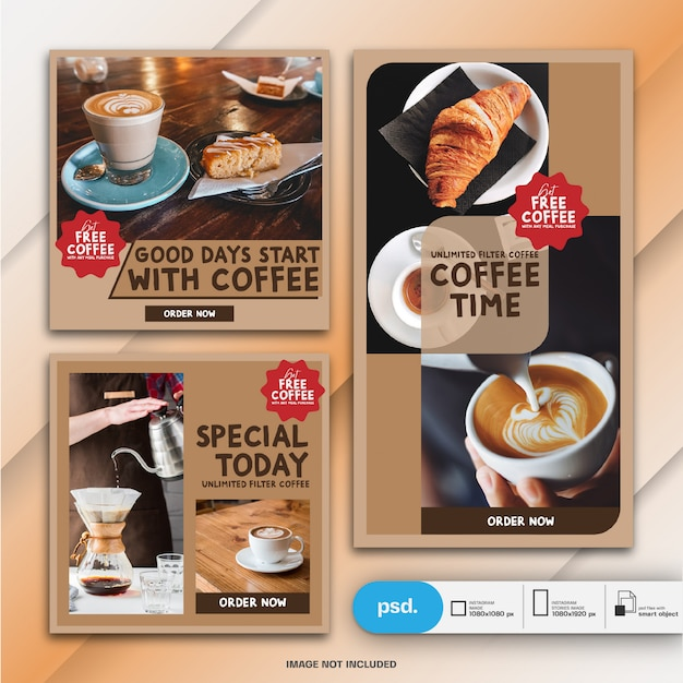フードレストランマーケティングinstagramの投稿とストーリーテンプレートまたは正方形バナー