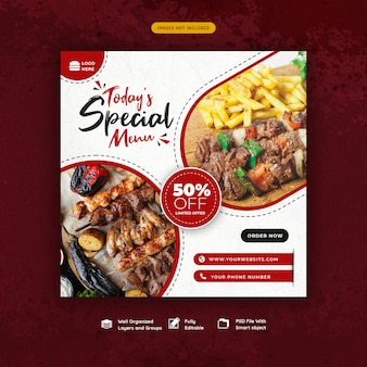 Food and restaurant social media banner template