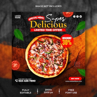 Food restaurant for social media pizza menu promotion template