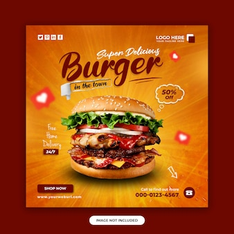 Food and restaurant social media post banner design template