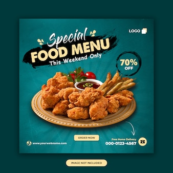 Food and restaurant social media post template