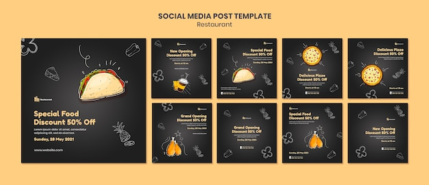 Food restaurant social media posts template