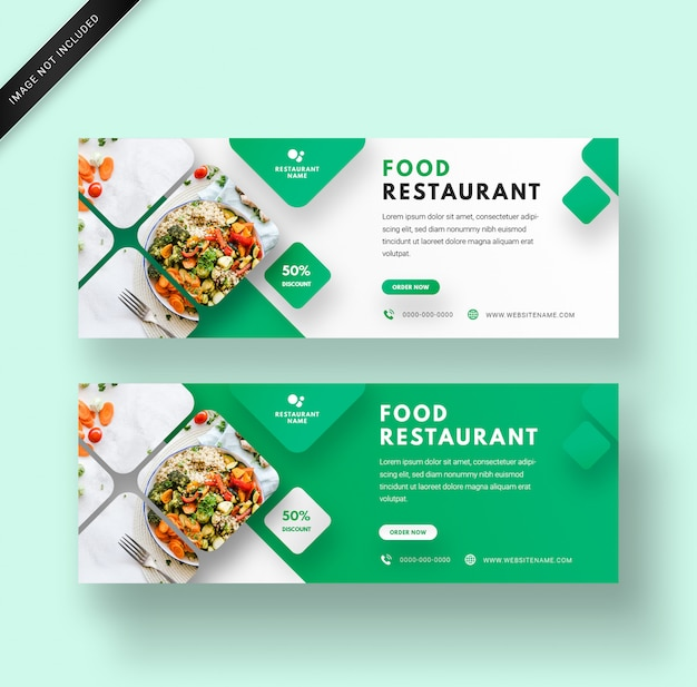 モダンでエレガントな3 dデザインの食品レストランwebバナーテンプレート