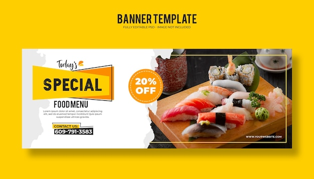 Шаблон веб-баннера ресторана еды с современным элегантным дизайном