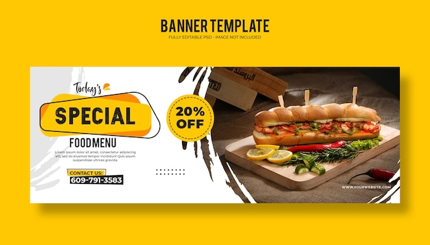 Food restaurant web banner template with a modern elegant design
