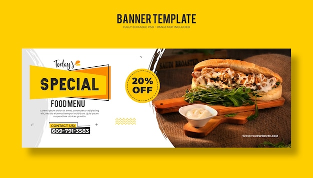 Food restaurant web banner template with a modern elegant design