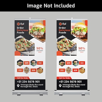 Food roll up banner design psd template for restaurant