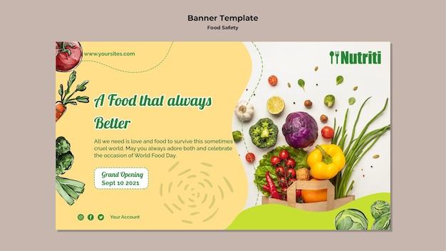 Modello di banner orizzontale per la sicurezza alimentare