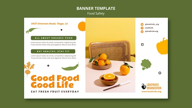 Food safety horizontal banner template