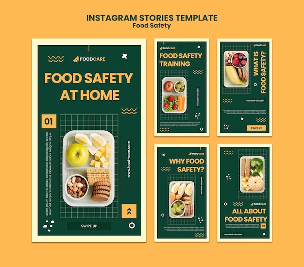 食品安全インスタグラムストーリーデザインテンプレート