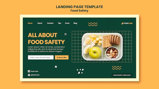食品安全ランディングページデザインテンプレート
