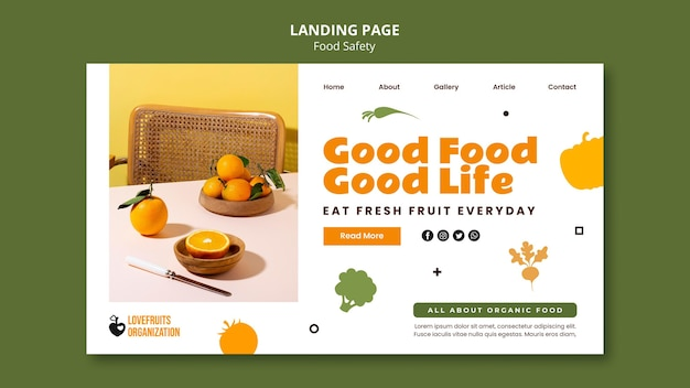 Food safety landing page template