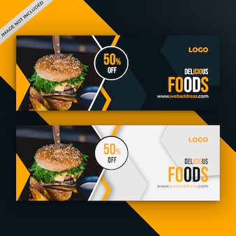 Food sale facebook ads cover template