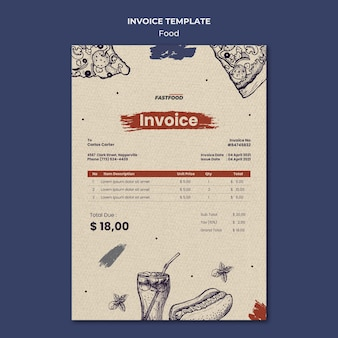 Food sale invoice template