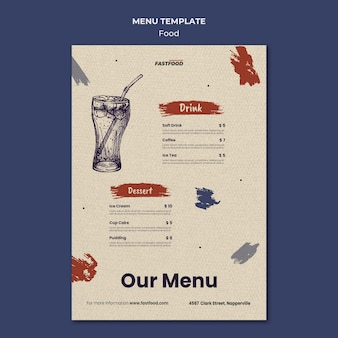 Modello di menu di vendita di cibo