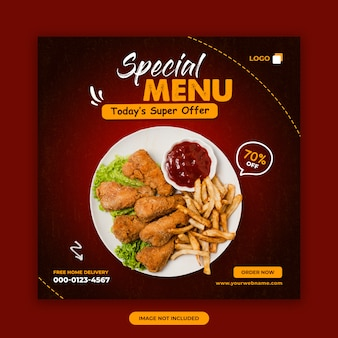 Food sale social media post banner design template