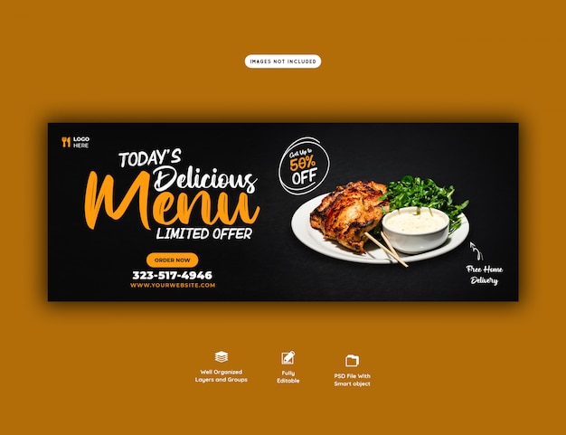 Food sales menu for web banner template