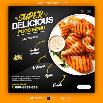 Food social media banner post template