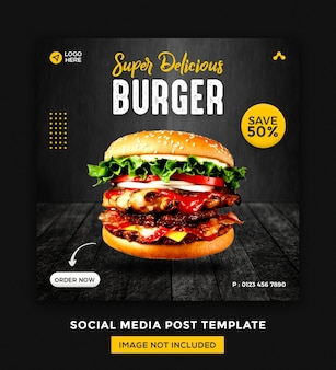 Food social media and instagram banner post design template