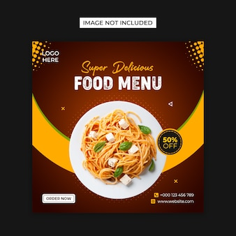 Food social media and instagram post template