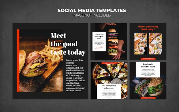 Food social media instagram post templates