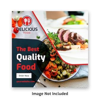 Food social media post banner template for restaurant