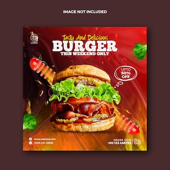 Instagram 및 squire burger 프로모션 웹 배너를 위한 음식 소셜 미디어 게시물