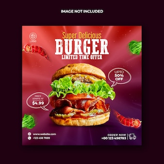 Food social media post for instagram and squire burger promotional web banner