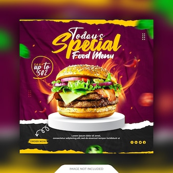 Food social media post and promotion banner template