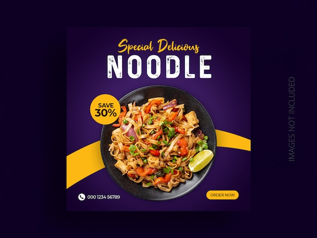 Food social media post square web banner template design