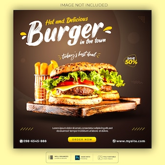 Food social media post template for restaurant fastfood burger