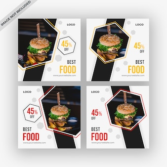 Food social media posts template collection