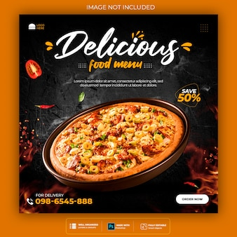 음식 소셜 미디어 홍보 및 배너 게시물 디자인 템플릿