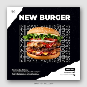 음식 소셜 미디어 홍보 및 instagram 배너 게시물 디자인 템플릿