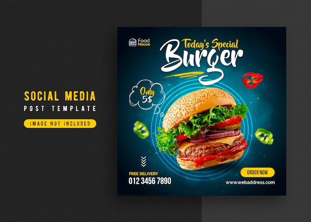 食品ソーシャルメディアプロモーションとinstagramのバナー投稿デザインテンプレート