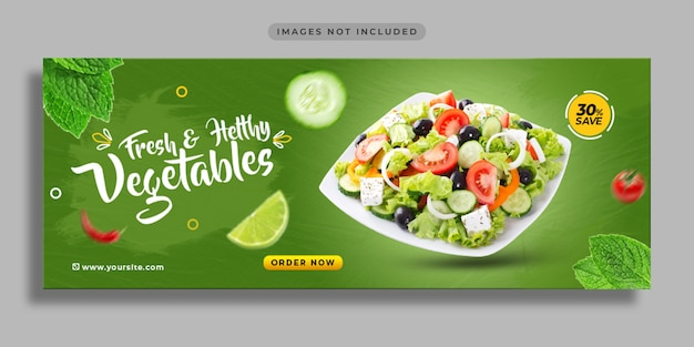 Продвижение еды в социальных сетях и шаблон дизайна веб-баннера