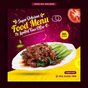 Food social media promotion banner and instagram post design template