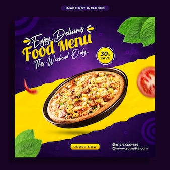 Food social media promotion banner and instagram post design template