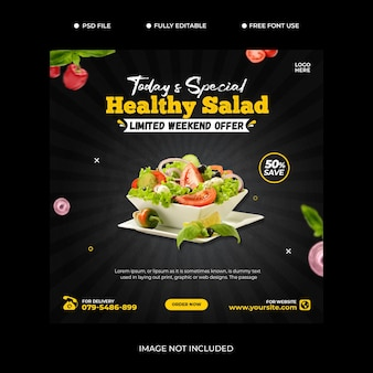 Food social media promotion and banner post design template premium psd