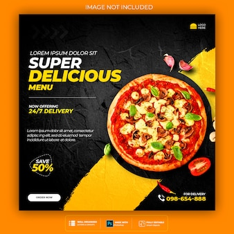 Food social media promotion and banner post design template