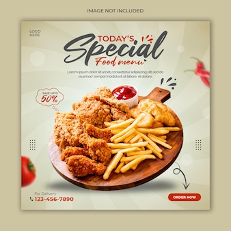 Food social media promotion banner template