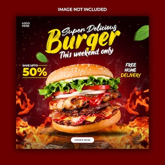 Food social media promotion banner template