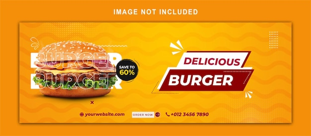 Food social media promotion and facebook cover post design template